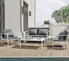 Idée nouveau salon de jardin (amazon), blanc et gris