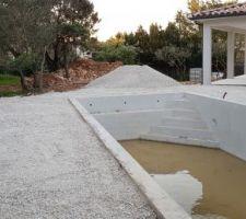 Mise en place de concassé autour de la piscine