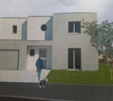 Voici la vue 3d de la maison et avec les couleurs choisi qui ont été  déposé  avec le permis de construire