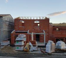 Mise en place des fermette pour la toiture