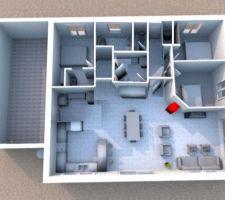 Inversion de l'entrée et rajout des WC dedans,le cellier au milieu avec une porte de chaque coté... le dégagement d'accès à la SDB /cellier/ chambre peut être réduit pour agrandir la chambre et la SDB..