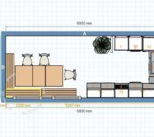 plan de la cuisine 1 frigo 2 10 armoire four et mo 6 lv