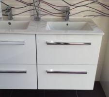 Meuble double vasque SDB (blanc pour SDB enfants et bois clair pour SDB parents)