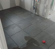 Carrelage du cellier en 45*45 gris graphite