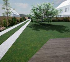 Clotures bois claire-voie le long du chemin et autour du jardin