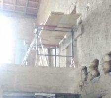 Préparation pour l'agrandissement de l'ouverture de l'étage
