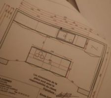 Plan de la cuisine des caisson de 120  ilot centrale avec casserolière et placard de rangement a l arriéré  meuble avec poubelle intégré