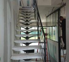 Notre escalier métal et bois de chêne clair huilé