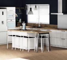 Vue 3D de la cuisine avec ilot central. Meuble ne mélaminé couleur grey kashmir et plan de travail vintage oak. électroménager electrolux en grande partie. Armoire cellier. 2 prises sur l'ilot central