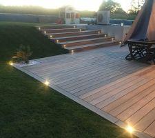 Eclairage de la terrasse et des marches