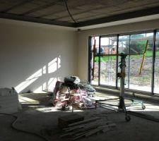 Plâtre des murs du salon