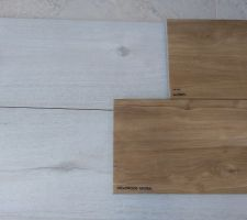 """Carrelage rdc imitation bois blanc et escalier bois """"dreamwood Natural"""""""