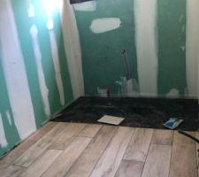 Notre sdb : la faience noire va continuer en remontant sur le mur (emplacement de la baignoire)