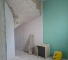 Sous l'escalier, côté salle de bains du bas. On a demandé à ce que le placo ne descende pas jusqu'en bas, ça nous fera une espèce de niche pour du rangement supplémentaire