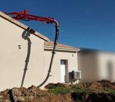 Coulage fondations muret de soutènement terrasse
