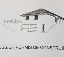 Permis de construire avec croquis de la façade vue depuis la route