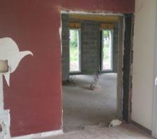 Ouverture entre le salon et l'extension