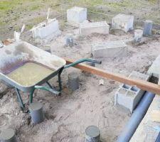 Début plots pour structure terrasse