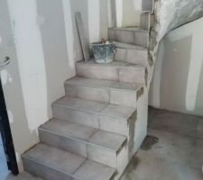 Carrelage de l'escalier en cours
