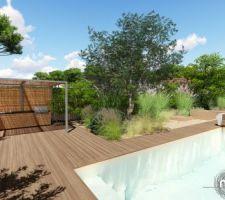 Piscine + pool house.