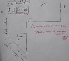 Plan n°1: SAM et cuisine au SUD, mais salon au nord