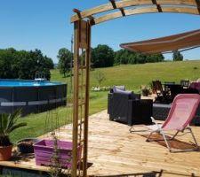 Terrasse bois palmier et piscine