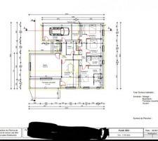 Nouveau plan suite au relèvement en cours du vide sanitaire. Nous avons déplacé le cellier et les toilettes. Le garage serait notre 2eme salon.