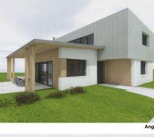 Angle sud . Maison avec bardage mélèze ,bac acier de chez ArcelorMittal  et enduit.