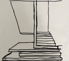 Croquis de l'architecte - adaptation de l'escalier