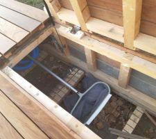 Intérieur du coffre de terrasse