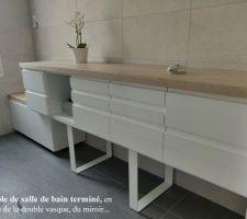 Meuble de salle de bain quasi terminé (manque vasque à poser, tiroir où se trouvera le siphon, et plaque pour dissimuler le vide sanitaire).