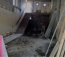 Ce week end, nous avons commencé à rénover l'escalier. voici une photo avant