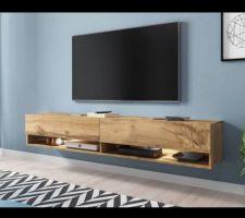 Prochain achat: meuble TV suspendu effet chêne