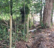 Pose des poteaux bois pour la clôture coté nord (bois)