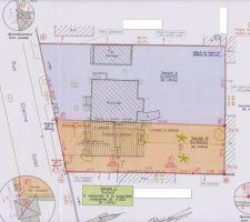 Plan de masse avec implantation dessine en bleu sur le terrain B