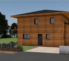 Photo 3d maison bois bioclimatique avec débord de toit