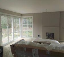 Peinture salon et bureau terminée ( murs et  fenêtres )