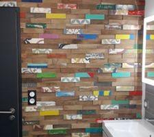 Plaquette de parement bois recyclé Kohtao multicouleur intérieur leroy merlin