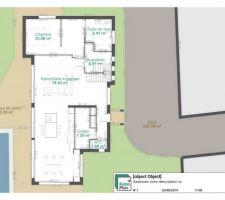 Idée du REZ de chaussée avec probable piscine en auto construction et garage en haut à droite séparé de la maison ( mon seul regret l'implantation du terrain avec vu dégagée au nord ouest )