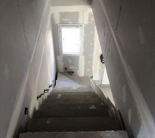 Ici nous avons opté pour un escalier béton, le coffrage a mal été réalisé avec une erreur dans la prise de côtes. Du coup en posant les cloisons nous constatons les écarts/ les trous de parts et d?autres de l?escalier.