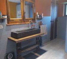 Salle de bain douche italienne ,creation perso et mur enduit argile