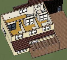 Plan de maison étage avec vue sur les avancées de toit pour se protéger du soleil en été