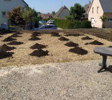 Etalage du compost en cours