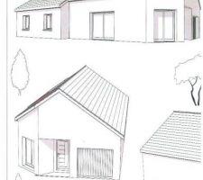 Vue dessinée de la maison sous plusieurs angles