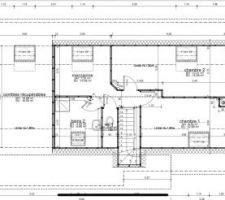 Plan de l'étage avec à gauche nos combles à aménager
