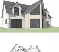 Vue 3D façade sud extérieure et vue 3D intérieur RDC