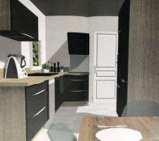 Plant Cuisine 3D Général <br />  <br /> Le meuble Haut intègre deux lumière pour éclairer le plant de travail  <br />  <br /> Nous avion fait un devis chez Ixina, SoCoo'c et Cuisinela les trois proposait un prix équivalent, la décision de sélectionné Cuisinéla c'est joué sur des détails. Charnières de portes plus épaisse, finition légèrement plus soigné.