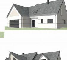 Vue 3D extérieur façades nord et sud