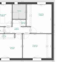 Au niveau de l'étage nous voulions une grande SDB et trois chambres de 13m2 avec un WC séparé