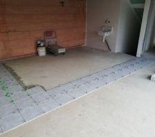 Carrelage garage 33m2 double encollage 33x33